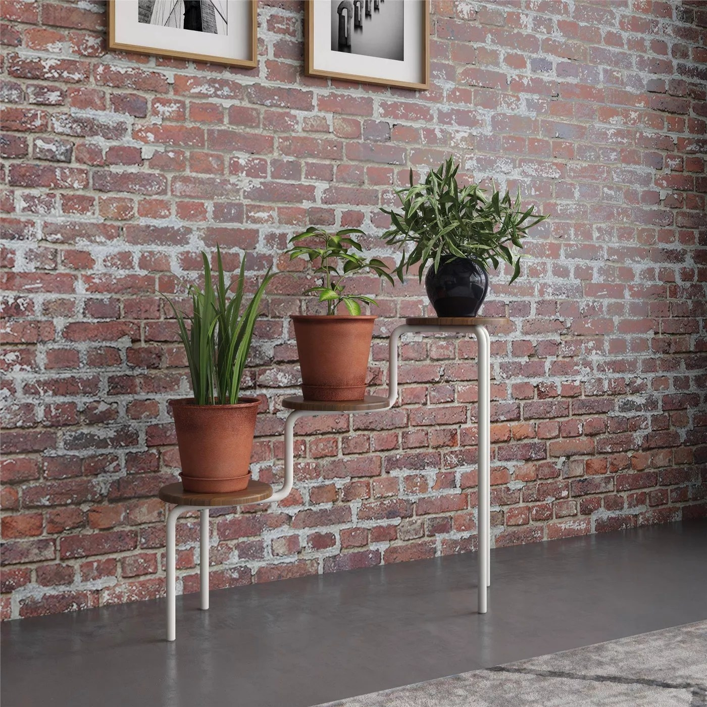 The wood and wire plant stand