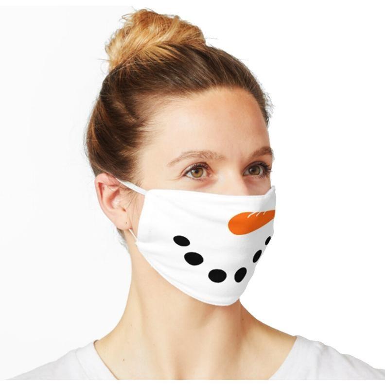 Model wearing snowman face mask