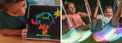 lite-brite and swing set