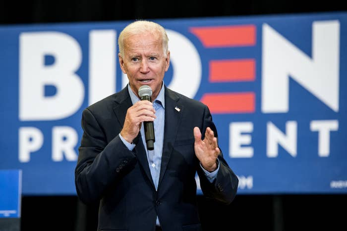 Joe Biden speaking at a campaign event