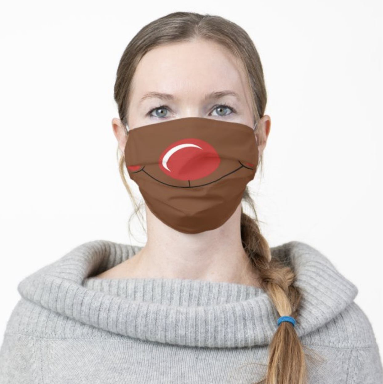Model wearing Rudolph face mask