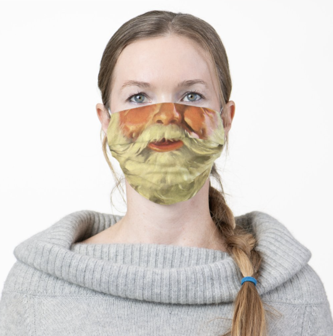 model wearing the santa mask