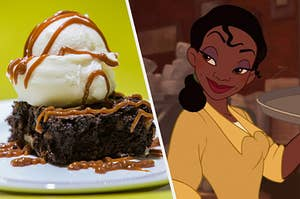 A caramel brownie with ice cream on top on the left and princess tiana on the right