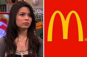 Carly Shay on the left and the mcdonald's logo on the right
