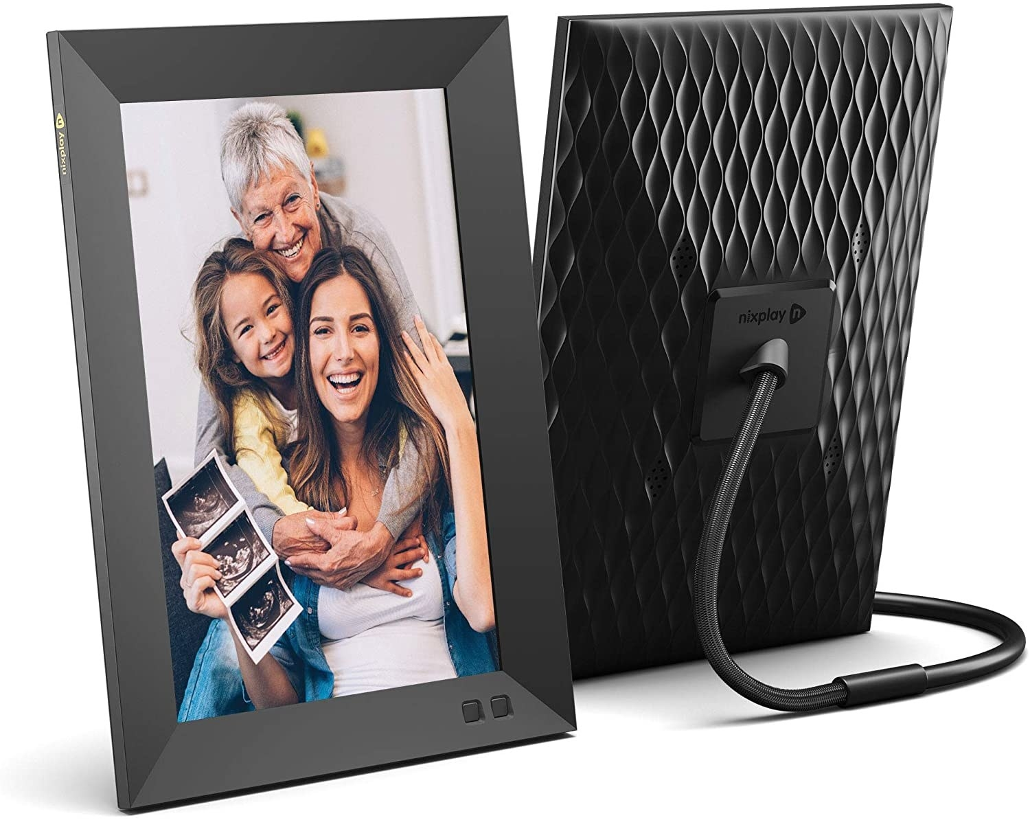 Black picture frame with cord going down the back