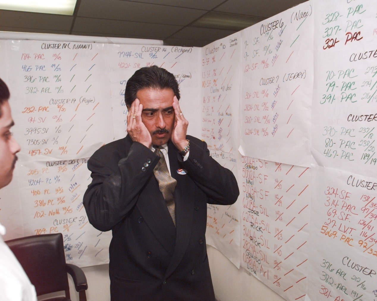A man in a suit holds both hands up to his temples, surrounded by paper-covered walls filled with numbers describing election results
