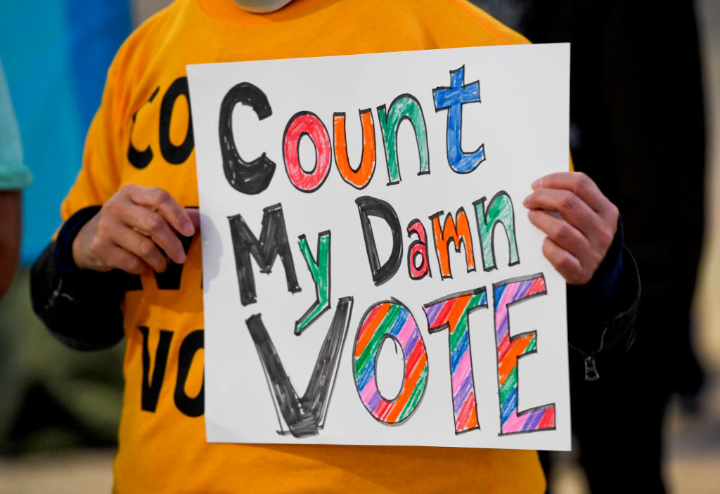 A sign that says count my damn vote
