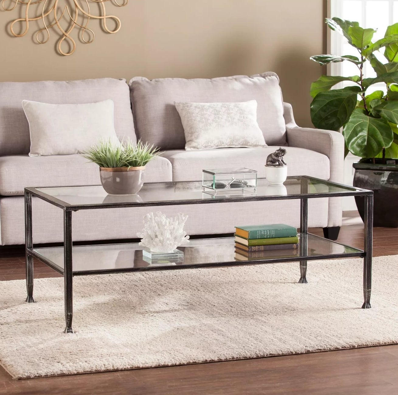 The glass two-level coffee table
