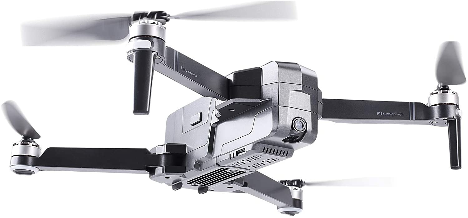 drone with four blades spinning