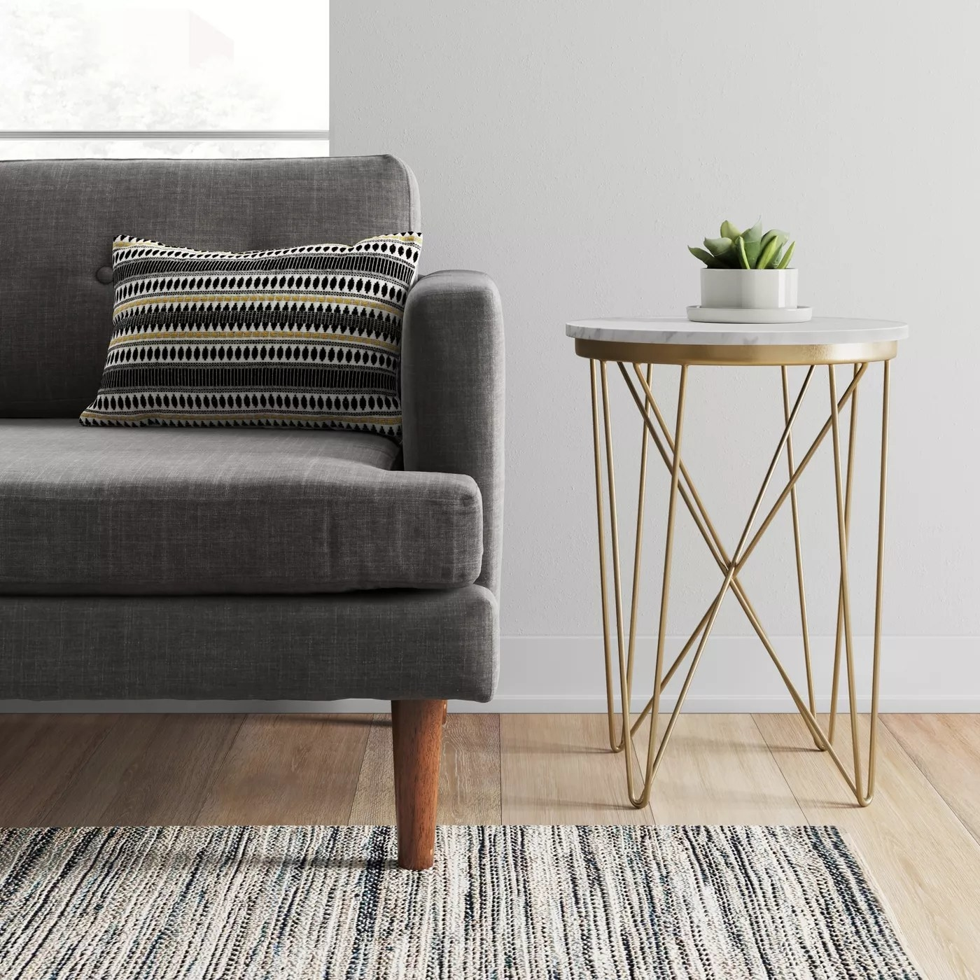 Marble and steel round side table