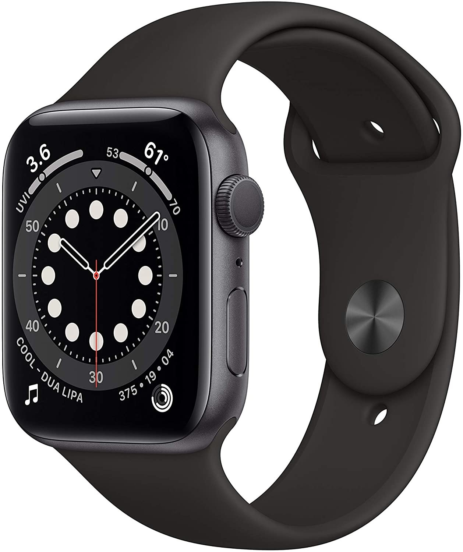 Black apple watch set to an analog watch screen