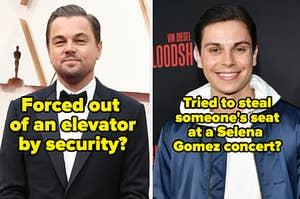 """左侧莱昂纳多·迪卡普里奥,标题""""被保安电梯逼出来?""""和杰克·T·奥斯汀在右侧标题""""试图在赛琳娜·戈麦斯演唱会偷别人的座位吗?"""""""