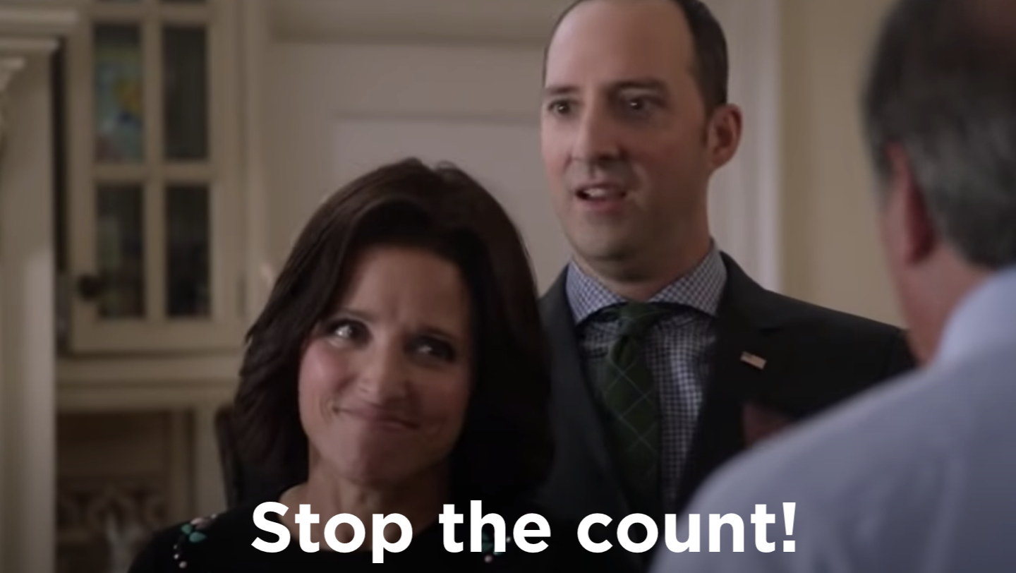 """Still from the show with the caption, """"Stop the count!"""""""