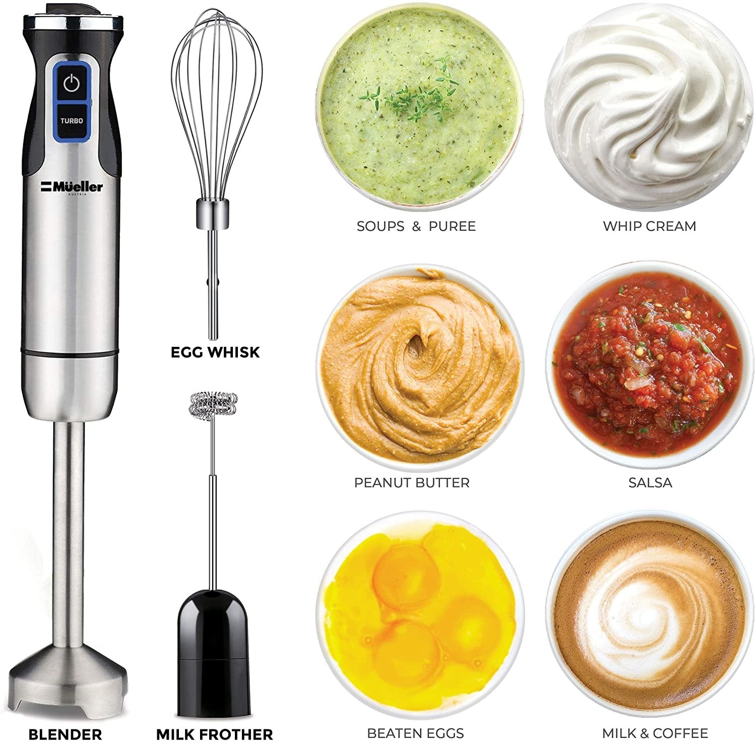 The blender, milk frother, and egg whisk can beat eggs, make milk/coffee, salsa, whip cream, and soups/puree