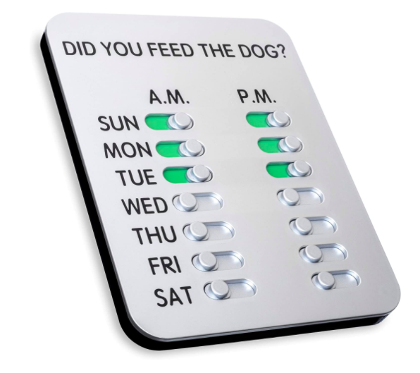 Tablet with slider buttons for each day of the week, morning and evening