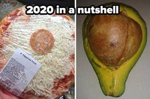 比萨一个辣香肠和鳄梨一个大坑