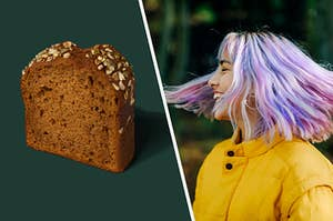 On the left, a slice of pumpkin bread from Starbucks, and on the right, someone with multicolored hair smiling and spinning around in a circle