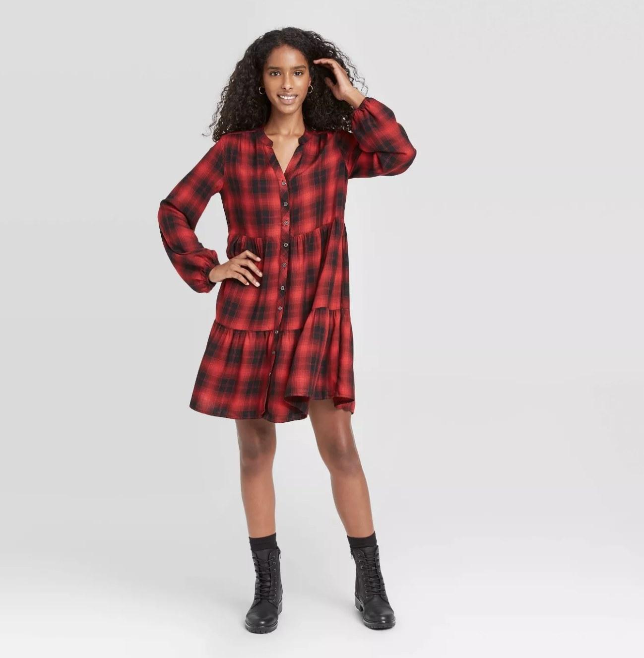 red plaid long-sleeve shirtdress