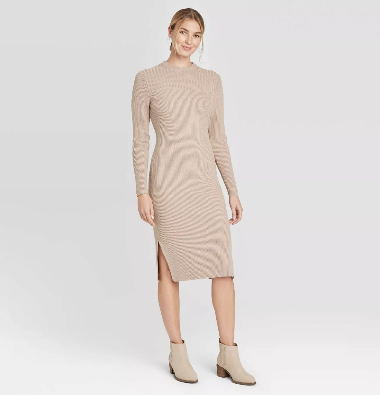 ribbed sweater dress in light brown