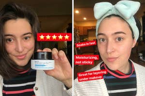 on the left the writer holding aqua bomb moisturizer captioned with five stars, on the right the writer wearing the moisturizer captioned