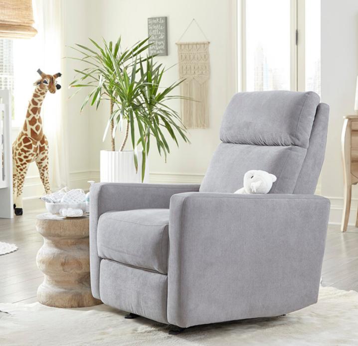 Gray plush glider chair