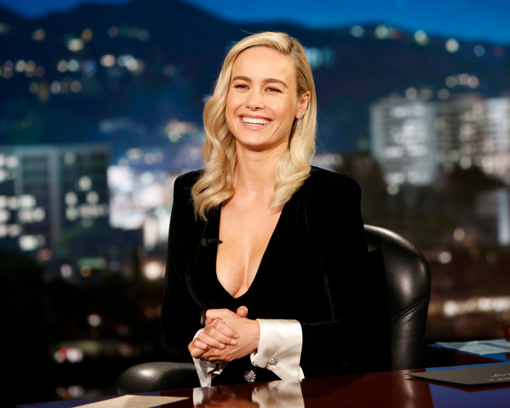 "Brie Larson smiling on ""Jimmy Kimmel Live"""