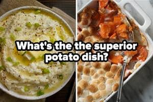 Mashed potatoes vs sweet potatoes, titled
