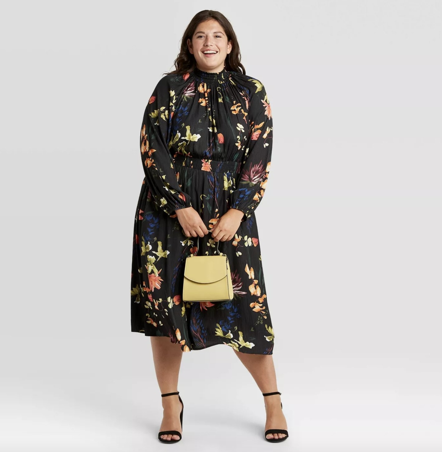 long-sleeve floral smocked midi dress with colorful flowers