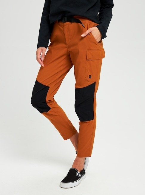 a model wearing the color-blocked pants
