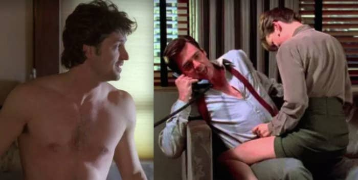 """Side-by-sides of a shirtless Patrick Dempsey in """"Grey's Anatomy"""" and Jim Carrey hooking up with his secretary in """"Liar, Liar"""""""
