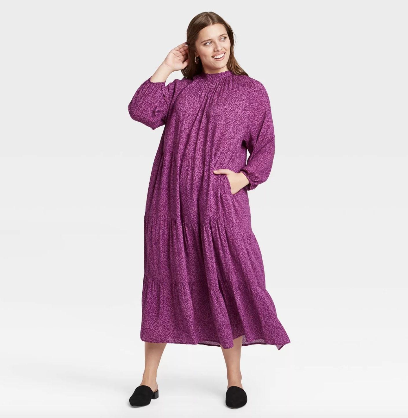 long-sleeve tiered maxi dress in purple cheetah pattern