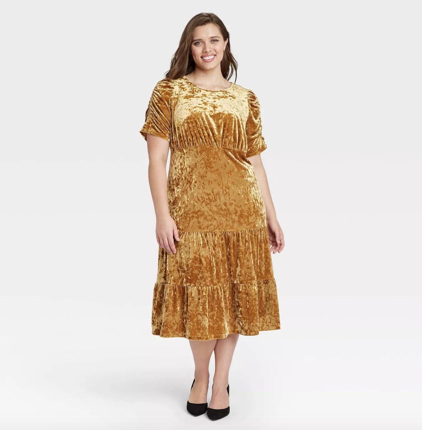 brown velvet a-line short-sleeve midi dress