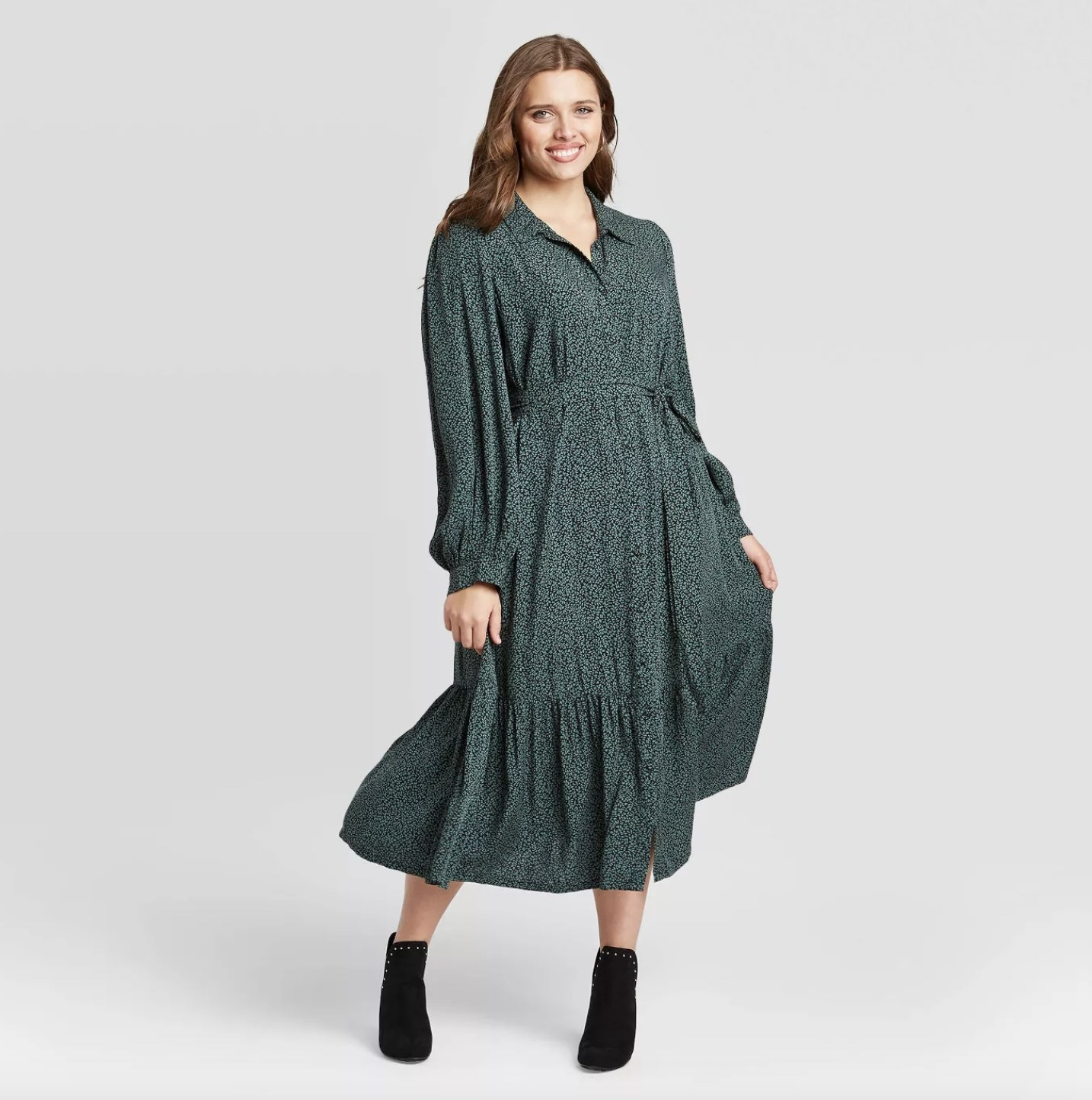 long-sleeve green printed shirtdress