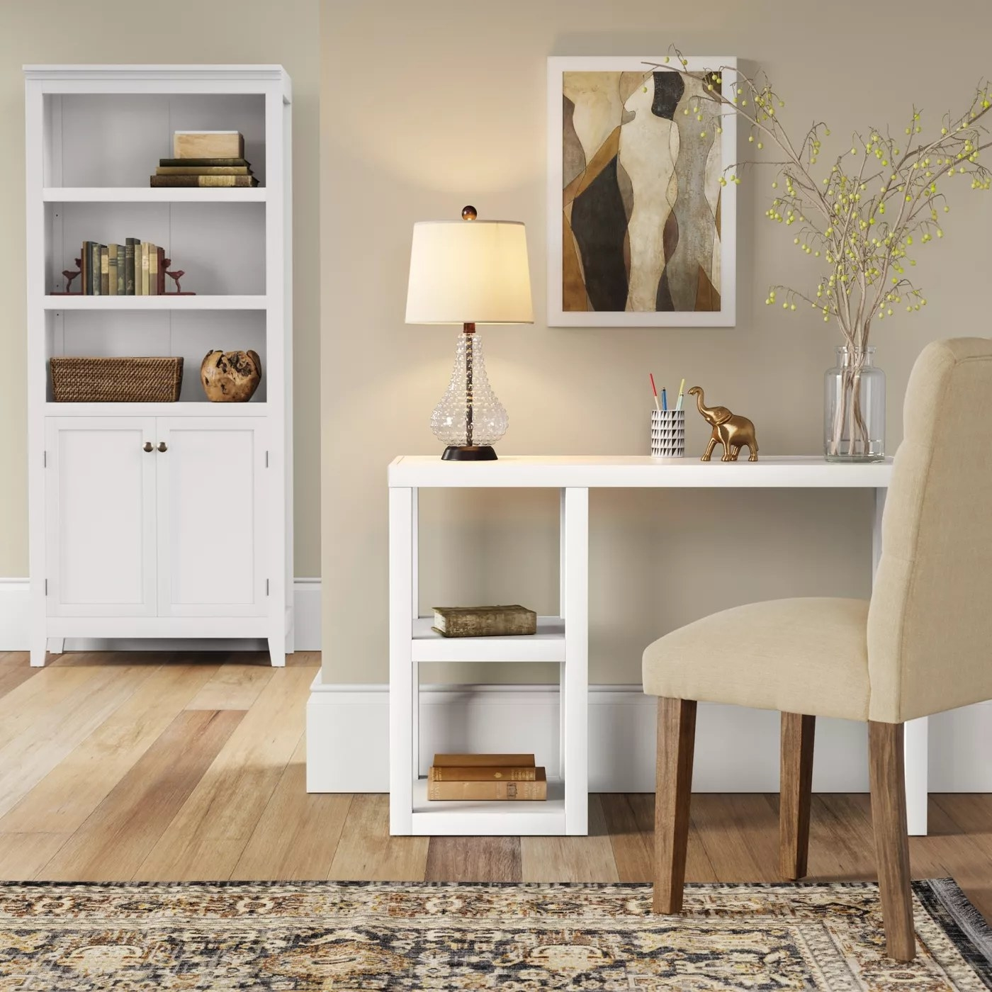The white minimalist desk with two side storage spaces
