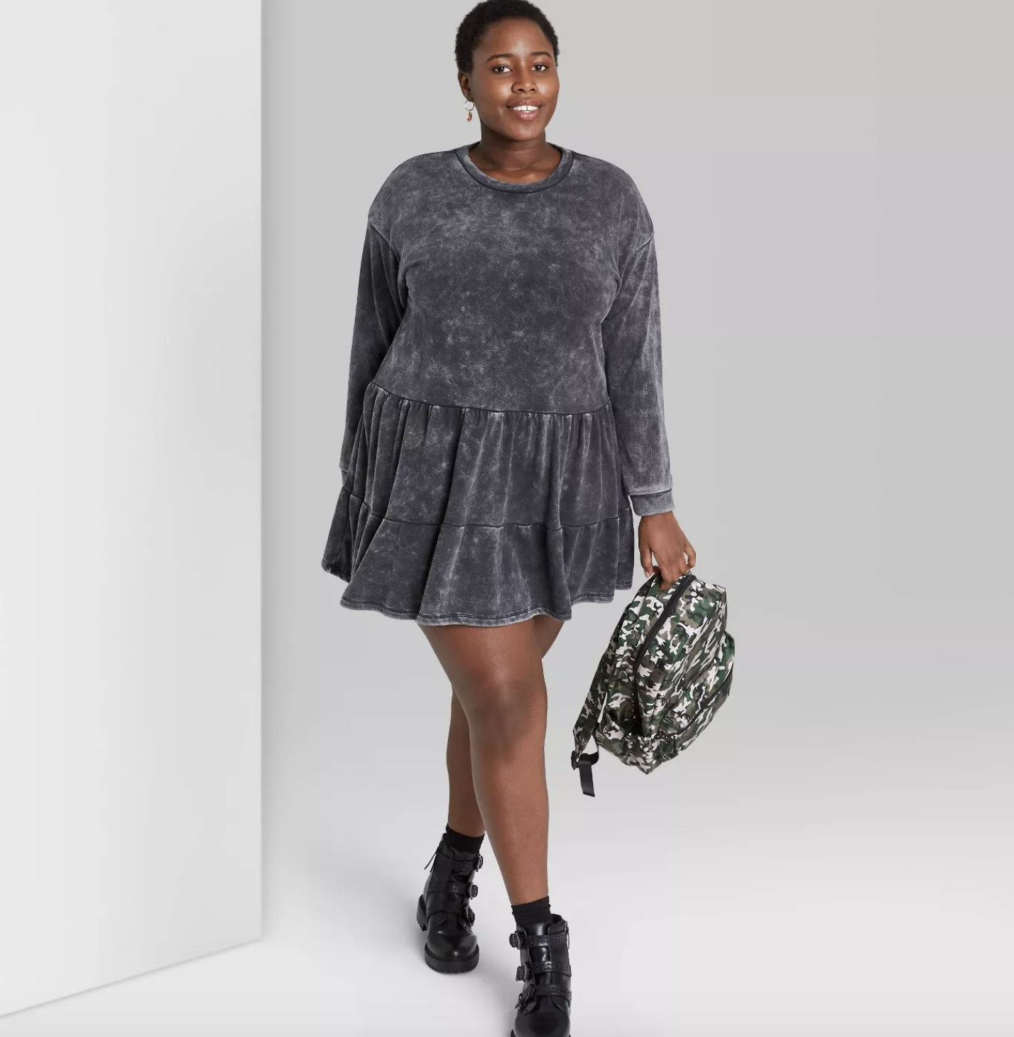 long-sleeve mineral wash dress in black