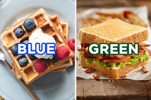 """On the left, a stack of waffles topped with blueberries, raspberries, and vanilla ice cream labeled """"blue,"""" and on the right, a BLT sandwich labeled """"green"""""""