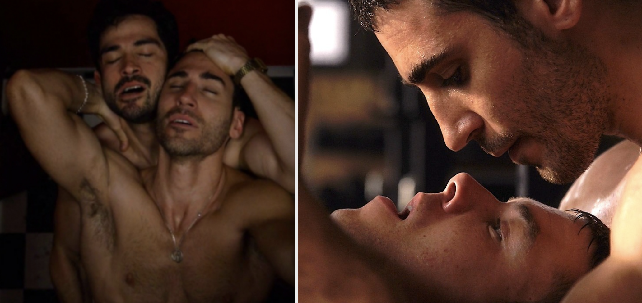 """Two male characters from Netflix's """"Sense8"""" holding each other, about to kiss"""