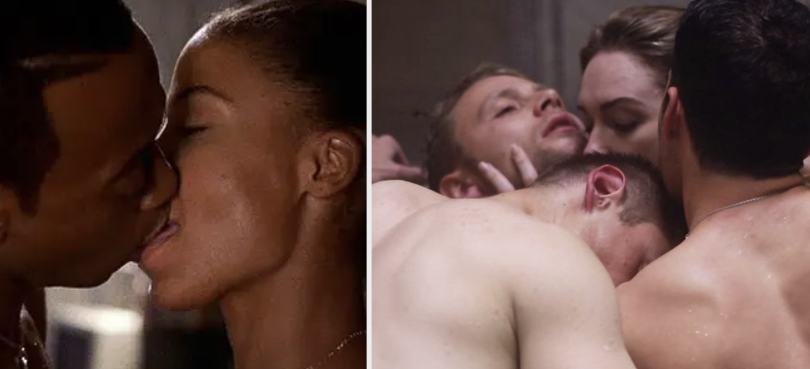 """Side-by-side of the two main characters from """"Love & Basketball"""" kissing, and a group orgy of four characters from Netflix's """"Sense8"""" kissing in a hot tub"""