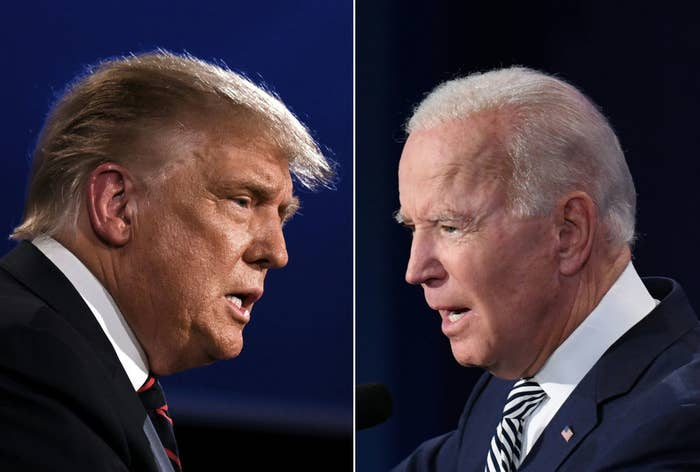 Side by side of Donald Trump and Joe Biden