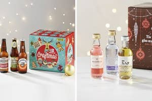 Side by side image showing a beer advent calendar and a gin advent calendar