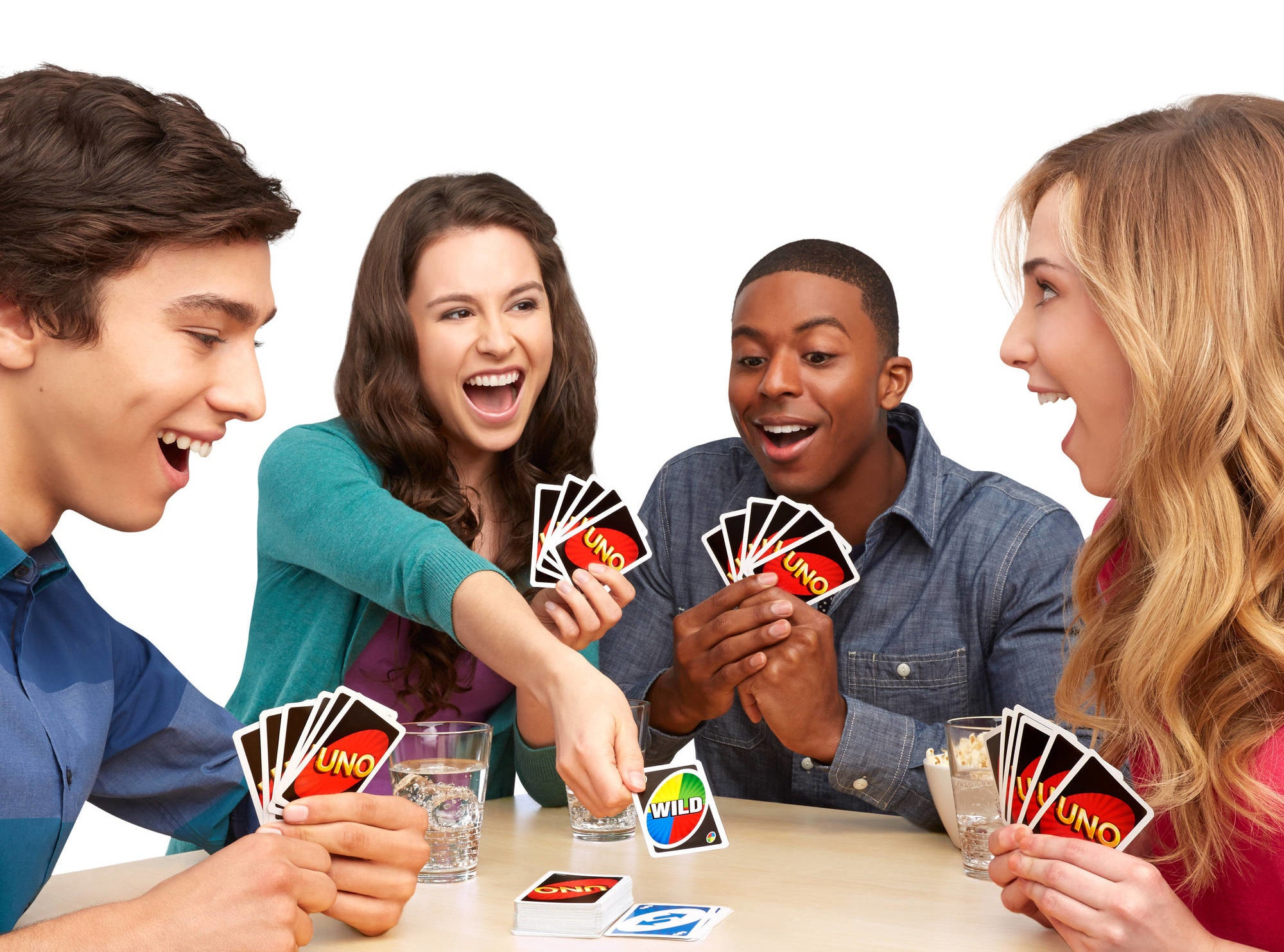 Uno cards being used to play a game