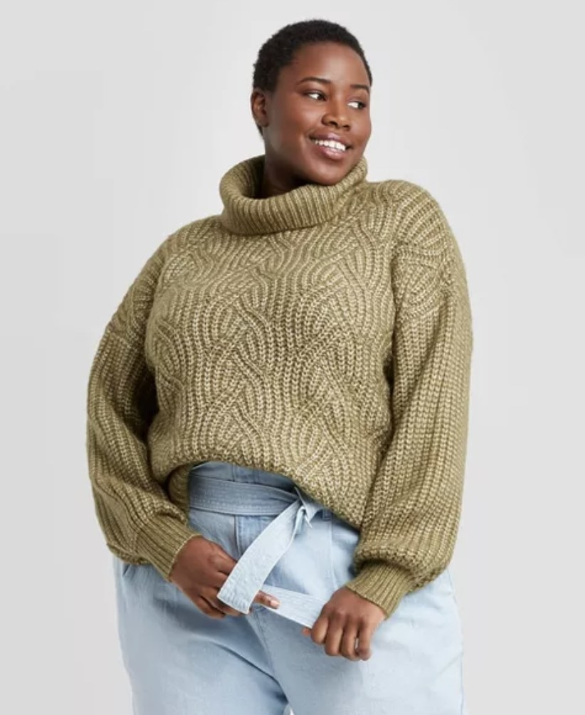 green oversized cable knit front with ribbed knit back sweater