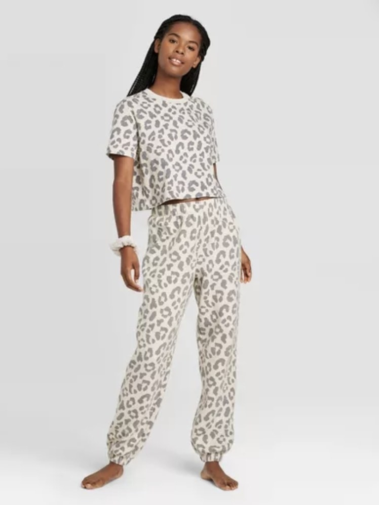 neutral colored leopard print cropped shirt and jogger pajama set