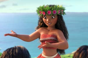 Moana dancing in the movie
