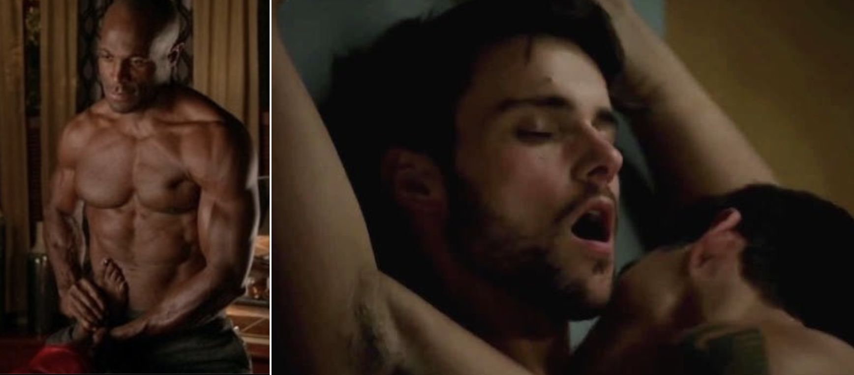 """Side-by-sides of a shirtless Nate in """"How to Get Away with Murder"""" and Connor kissing another man"""