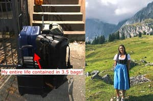 """suitcases on the street with text reading """"my entire life contained in 3.5 bags""""; a woman wearing a dirndl in the mountains"""