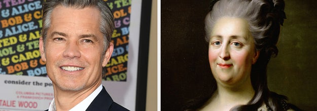 Side-by-side images of Timothy Olyphant and Catherine the Great