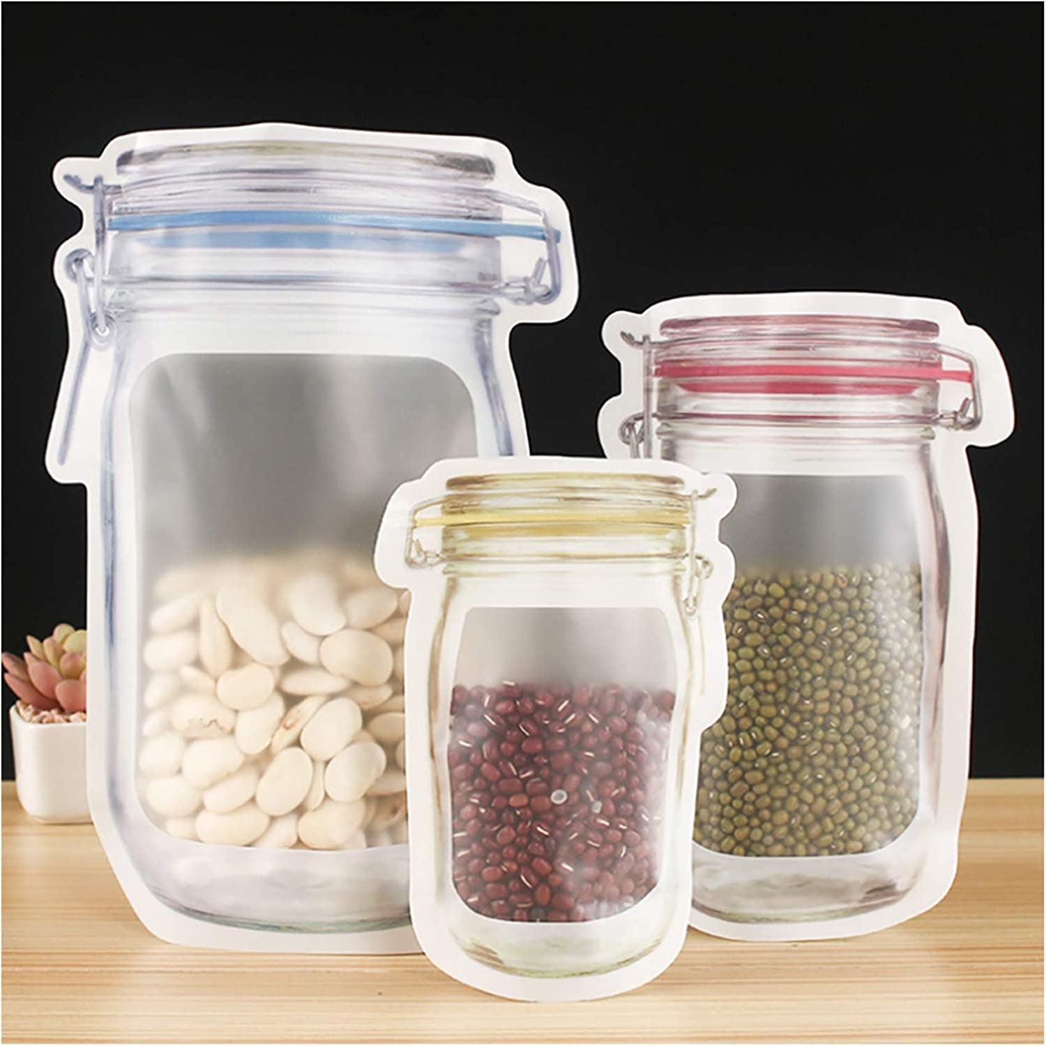 Three Maso jar bags filled with lentils and beans