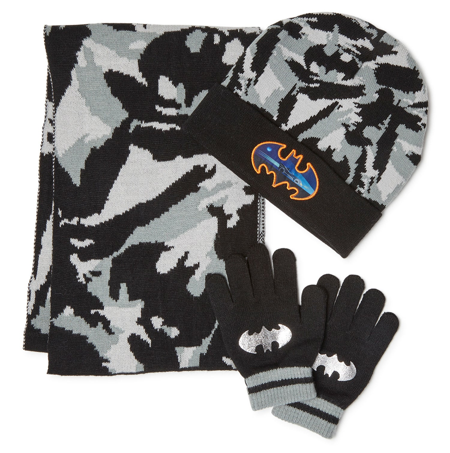 Black and gray camouflage winter accessories set