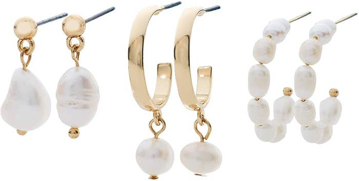 The three pairs of earrings: gold studs with dangling baroque pearls, gold open hoops with dangling small round pearls, and baroque pearl open hoops